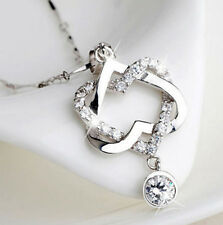Gold /Silver Plated Jewelry Double Women Pendant Necklace NEW Heart Chain
