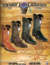 Wild West Mens Rodeo Toe Full Vamp Caiman Belly Cowboy Western Boots Diff.Colors