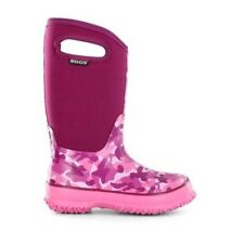 Bogs Kids' Girls' Classic Camo Pull On Waterproof Rubber Rain Boots Pink 71397