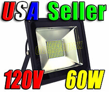 110V AC 60W Cool Pure White LED Wall Pack Wash Flood Light Patio Garage Outdoor