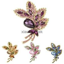 Flower Bow Crystal Rhinestone Brooch Pin Bridal Party Wear Fashion Jewelry Gift