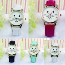 Casual Fashion Lovely Cats Face Neutral Quartz Diamond Watch Watches Gifts