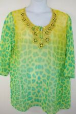 NEW Animal Print Sheer Beaded Tunic Shirt Swimsuit Coverup Womens Plus 1x-3x
