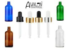 Green Clear Blue or Amber Glass Aromatherapy Bottles + Pipette GOLD SILVER BLACK
