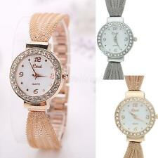 Women's Lady Bracelet Stainless Steel Silver Crystal Dial Quartz Watch