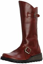New Fly London Mes Womens Leather Zip Up Boots Ladies Size UK 4-9 Red