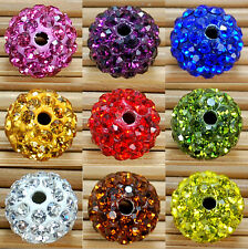 10Pcs Spacer Beads Round Pave Clay Fashion Disco Ball Czech Crystal Rhinestones