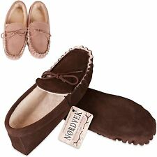 Nordvek Ladies Genuine Sheepskin Moccasin Slippers Soft Sole Real Womens 429-100