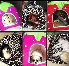 Pet Puppy Dog Cat Warm Pad Doggy Kennel Bed House Cushion Strawberry Soft