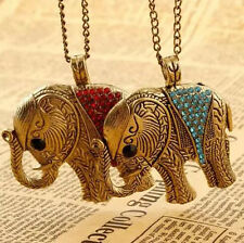 Retro Elephant Sweater Chain Colorful Chic Crystal Pendant Necklace Fashion