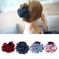 Fashion Fabric Rose Flower Large Hair Clamp Claw Clip Barrette Gift 4 Colors