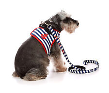 LOVABLEDOG Striped Sailor Protective Soft Harness & Leads For Small-Medium Dog