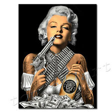 Framed Marilyn Monroe Gangster Poster Pop Art Tattoo Painting Print on Canvas