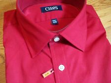 NWT $50. MSRP Mens Chaps Cotton Blend Slim Fit Stretch Wrinklle Free Dress Shirt