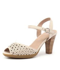New Django & Juliette Wappa Beige Leather Women Shoes Platforms Heeled Sandals