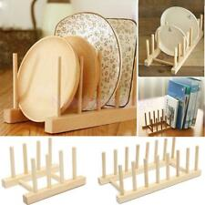 Wood/Bamboo Dish Holder Sink Rack Drainer Stand for Pot Lid, Utensils, Cup