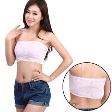 Sexy Lady Strapless Lace Padded Boob Tube Stretch Crop Top Bandeau Sexy Bra