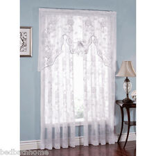 NEW Abbey Rose White Floral Lace Curtain by Lorraine