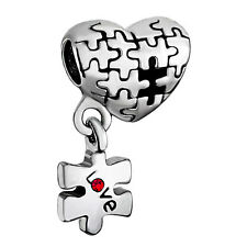 Autism Awareness Puzzle pieces Complete My Heart Charm bead pendant bracelet