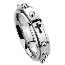 6mm Stainless Steel 316L Ring Cross Rosary Spinner Praying Band / Gift box