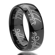 8mm Titanium Ring Laser Lord of Rings Black Color Band Gift box / Ship from USA
