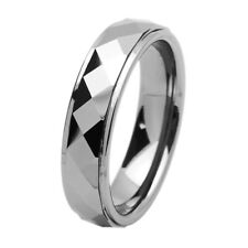 Men's 6mm Tungsten Carbide Band Domed Faceted Stepped Edge Ring / Gift box