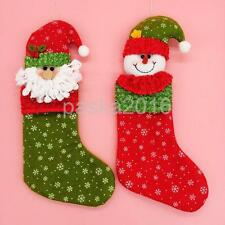 Christmas Stocking Sock Santa Snowman Snowflake Kids Gift Bag Xmas Decoration