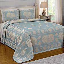 NEW Full Queen King Bed Blue Seashells Nautical Beach Coverlet Bedspread Elegant