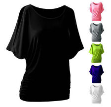 Bat Sleeve Blouse  Short Sleeve Top Loose T-shirt Round Neck  Sexy Women