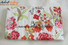 White Kantha Quilt Twin Floral Bed Cover Stitch King Gudri Throw Aakriti Gallery