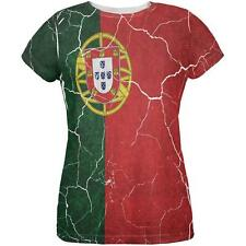 Distressed Portuguese Flag All Over Womens T Shirt