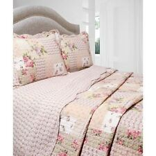 NEW Twin Full Queen King 3 pc Pink Rose Floral Reversible Quilt Coverlet Bed Set
