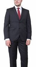 Ideal Slim Fit Charcoal Gray Pinstriped Two Button Wool Suit