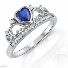Blue Sapphire CZ Heart Princess Crown Sterling Silver Swirl Ring