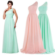 Chiffon One-shoulder Evening/Formal Gown/Party/Prom Dress Wedding SZ 8-10-12-14