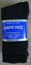 Womens Diabetic Crew Socks Black Size: 9-11 Pick Your Lot Qty MADE IN USA
