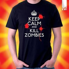 KEEP CALM AND KILL ZOMBIES - Splatter Funny BLACK T Shirt - NEW - FREE P&P