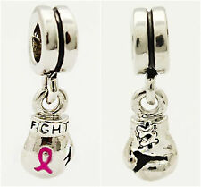 Fight Breast Cancer Pink Ribbon Awareness charm For European Bracelets necklaces