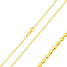 1.8mm 925 Sterling Silver Bead Chain Necklace / 14K Gold Plated made in italy