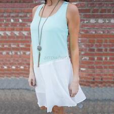 Summer Women Sexy Sleeveless Chiffon Dress Loose Party Mini Dress Beach Sundress