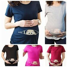 Baby Peeking Out Maternity Pregnant Summer Short Sleeve T-shirt Tops Lovely 1pc