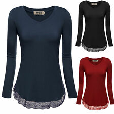 Women Casual V Neck Long Sleeve Tops Lace Hem Stretch Slim Tunic T-shirt Blouse