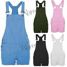 New Womens Dungaree Shorts Braces Hot Pants Strappy One Piece Playsuit Jumpsuit