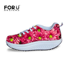Flowers Running Sneakers Womens Wedge Lace Up Fitness Athletic Sports Shoes Flat