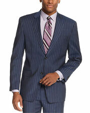 Sean John Classic Fit Navy Blue Striped Two Button Suit