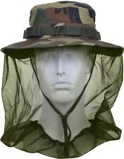 Woodland Camouflage Military Tactical Boonie Hat Full Mosquito Net Protection