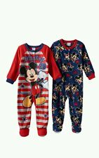 DISNEY MICKEY MOUSE 2 PACK FOOTED PJ/BLANKET SLEEPERS 2T $40.00