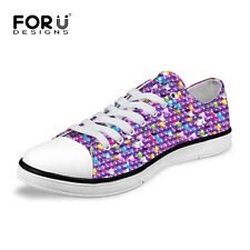 Sequin Multi Colored Lady Women's Casual Canvas Sneakers Lace Up Shoes Low Top