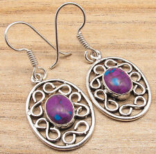 PURPLE COPPER TURQUOISE & Other GEMSTONE Variation, 925 Silver Plated Earrings