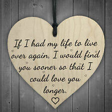 Love You Longer Wooden Hanging Heart Shaped Plaque Anniversary Shabby Chic Sign